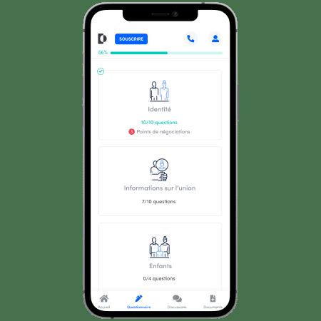 Mockup interface pour piloter votre divorce